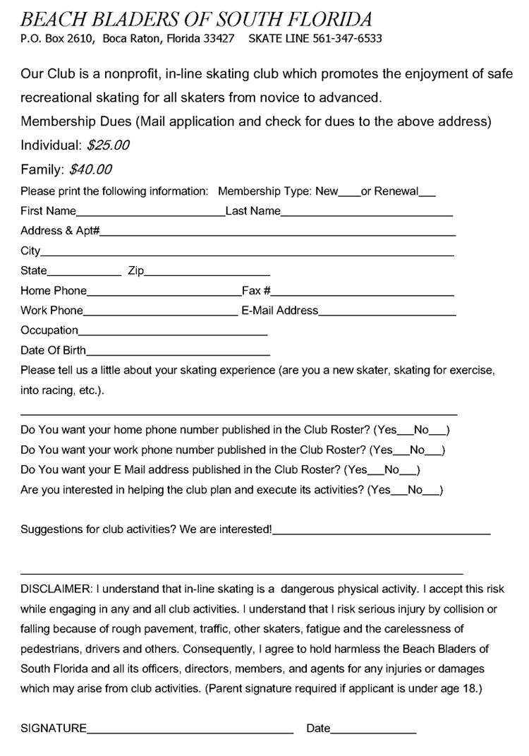Beach Bladers Membership Form